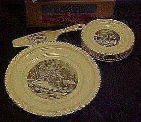 Harker pottery 8 pc gadroon cake set, original box