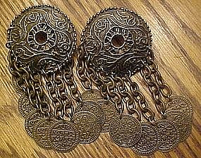 Large antique style coin dangle earrings, bohemian