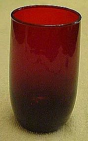 """Anchor Hocking 3 3/8"""" Royal Ruby Roly poly juice glass"""