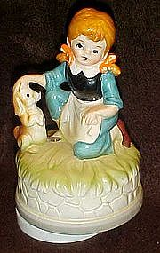 Musical revolving figurine, girl and her  puppy dog