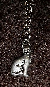 dainty pewter cat necklace