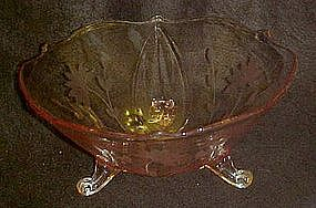 "Lancaster  8.5"" pink petal bowl with flower cut pattern"