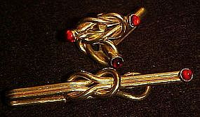 Vintage gold  tie bar and matching cufflinks, red stone