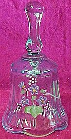 Fenton hand painted aquamarine bell, foil label