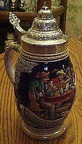 Large German beer stein with pewter lid, Pub scene