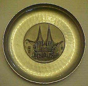 Vintage aluminum Souvenir plates Luzern Hopkirche