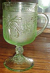 Tiara sandwich glass, chantilly green pedestal mug