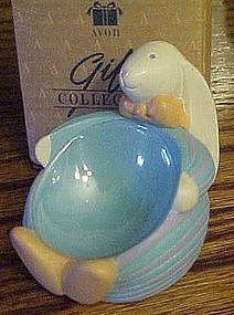 Avon White bunny Easter egg holder