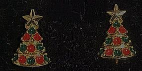Avon Christmas tree, clip earrings, boxed