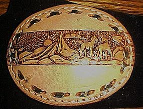 Hand tooled leather belt buckle, with horses