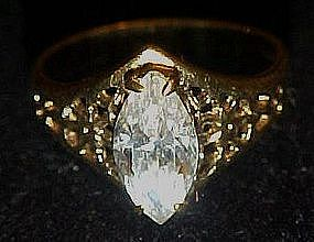 Gold electroplated filigree ring with Marquis stone