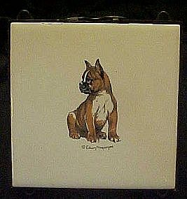 Bulldog puppy ceramic tile, and easel stand