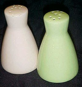 Eames style green and cream salt and Pepper shakers