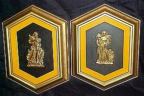 Pair of Goddess framed Turner art wall accessories