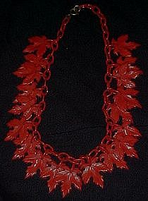 Vintage red plastic leaves necklace