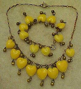 Victorian glass hearts necklace and earrings set