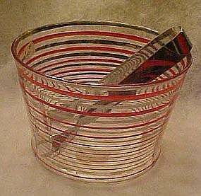 Vintage red and gold ice bucket