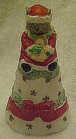 Porcelain Santa kitty Christmas bell