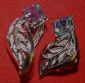 Vintage Coro clip earrings, leafs with aurora stone
