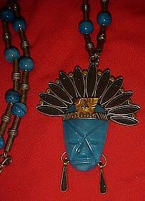 Vintage Mexico warrior head pendant, copper and brass