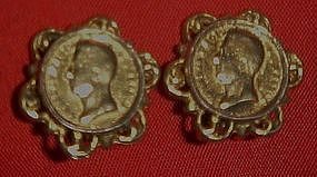 Vintage Reinad  gold coin earrings, clip backs