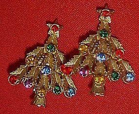 Rhinestone Christmas tree clip earrings