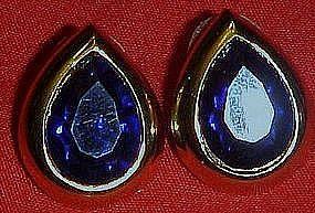 Blue sapphire teardrop stone earrings, post backs
