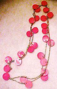 Retro  Mod Hot pink discs, long chain necklace