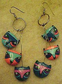 Colorful kitty cat earrings, pierced earwires