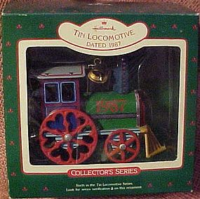 Hallmark tin Locomotive ornament 1987 MIB
