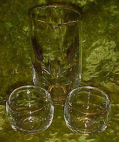 Hand blown  glass martini set,, cut  wheat pattern,