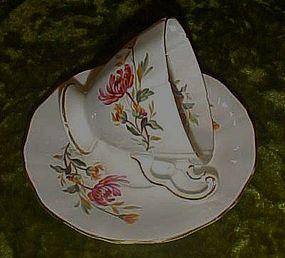 Adderley Bone china demitasse cup and saucer, mums