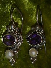 Beautiful sterling earrings with amethyst and pearl