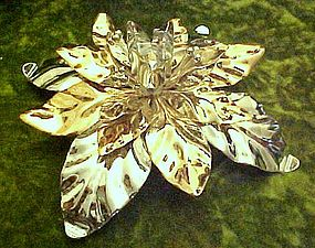 Dept 56 silver and gold metal  Poinsettia candle holder