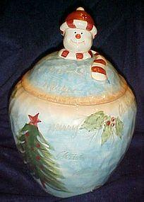 Large hand painted ceramic Snowman cookie jar