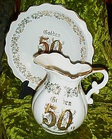 Lefton Golden 50th anniversary large pitcher and bowl