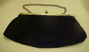 Vintage black fabric evening bag with chain handle