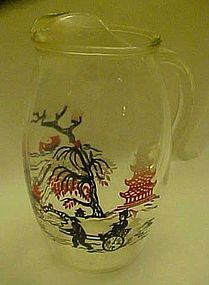 Willow ware polychrome variant pattern juice pitcher