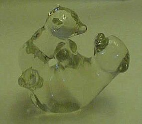 Solid glass bear and cub figurine