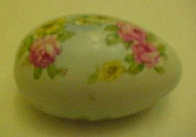 Large porcelain egg  box with rose florals, RS wreath