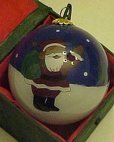 Reversed painted Black Santa Claus glass ornament