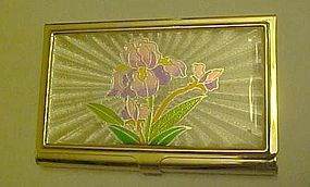 Ladies compact or business card holder Iris decor
