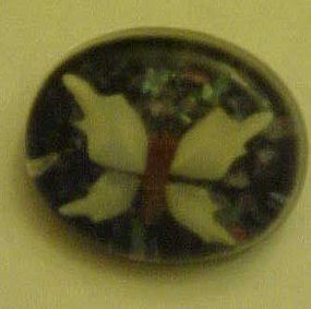 Vintage lucite pin with seashell butterfly and abalone