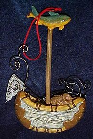 Fishermans Christmas ornament, birch bark canoe