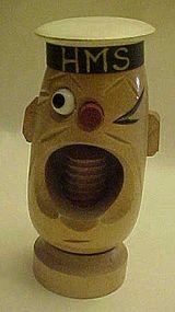 Vintage carved wooden  HMS sailor  popeye nutcracker