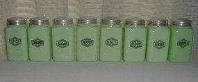 McKee Jadeite Small Box 8 Shaker Set