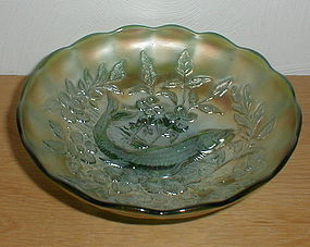 """Green Millersburg TROUT & FLY 8 1/8"""" Bowl"""