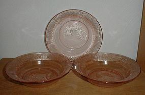 Pink Sharon Flat Soup Bowls