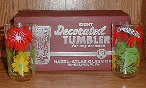 Hazel Atlas #305 Flowered Tumbler Set MOB