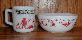 Hazel Atlas Childs Prayer Mug & Bowl
